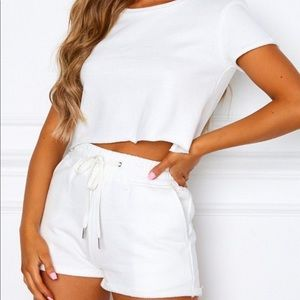 White Fox Lover Boy Crop Top and Shorts Set